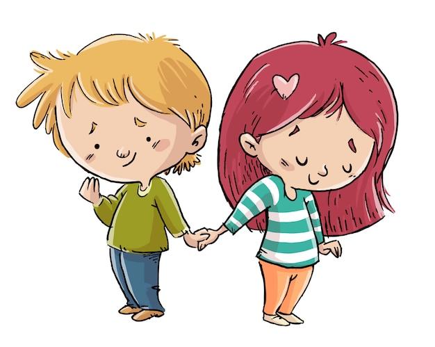 Enfants amoureux, main dans la main