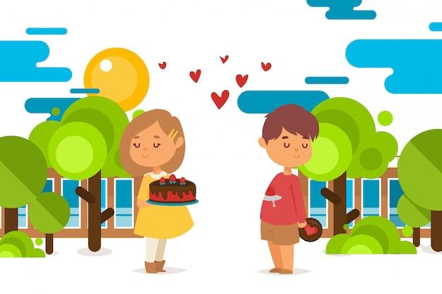 Les enfants amoureux se donnent une illustration de jeu de pain de bonbons. les jeunes personnages se tiennent dans la rue, la fille tend le gâteau au four