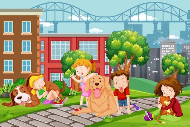 Enfants avec animal au parc
