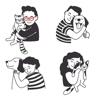 Enfants avec animal de compagnie.