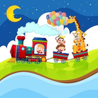 Enfants et animaux à cheval dans le train de nuit