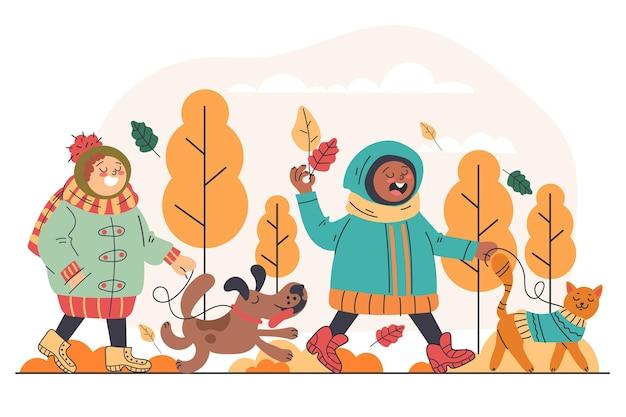 Enfants et animaux de compagnie automne design plat