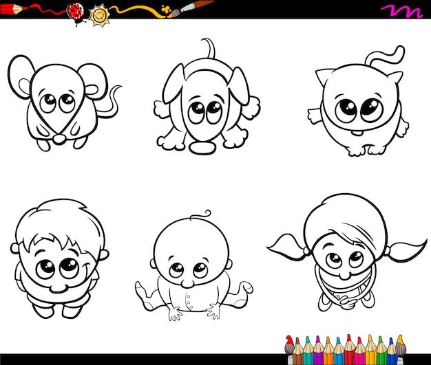 Enfants et animaux de compagnie livre de coloriage