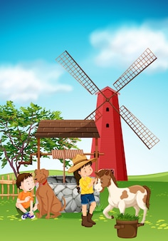 Enfants et animaux dans la basse-cour