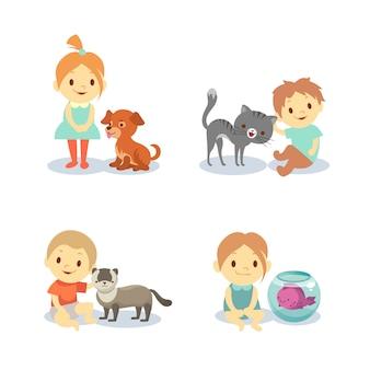 Enfants et animaux domestiques isolés sur fond blanc - garçons et filles avec des animaux