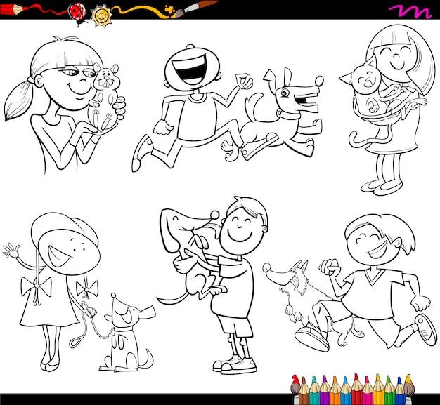 Enfants et animaux domestiques mis en page à colorier