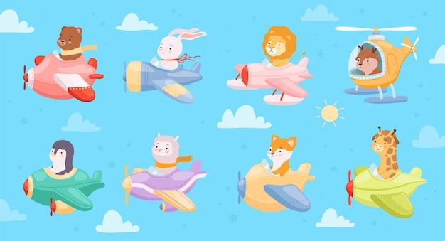 Enfants animaux volant dans des avions et des hélicoptères