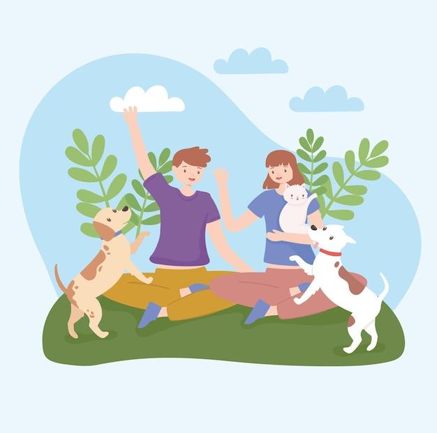 Enfants avec des animaux