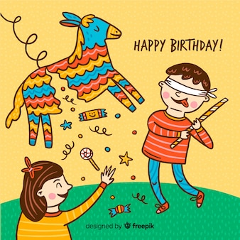 Enfants d'anniversaire dessinés à la main