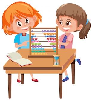 Enfants apprenant les maths avec boulier