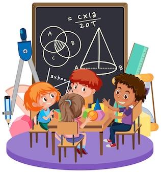 Enfants apprenant des maths avec le symbole et les outils de maths