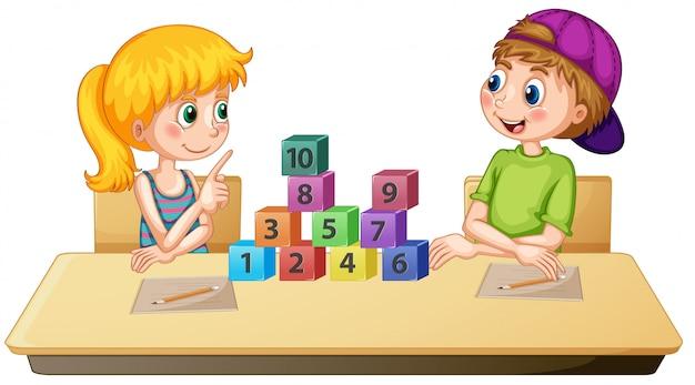Enfants apprenant nombre math