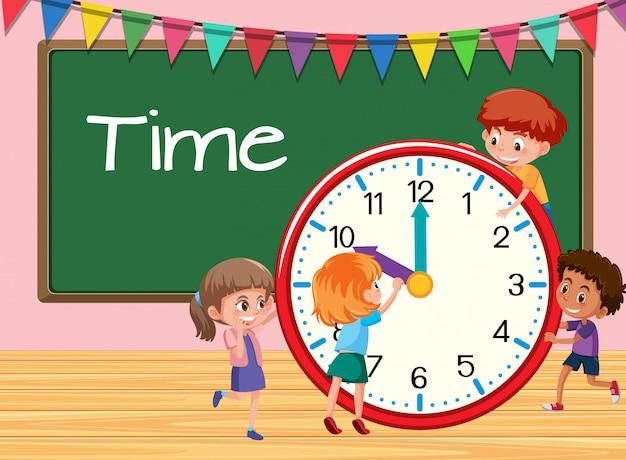 Enfants apprenant temps fond de classe