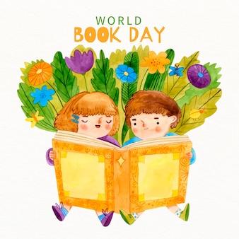 Enfants aquarelles lisant un livre