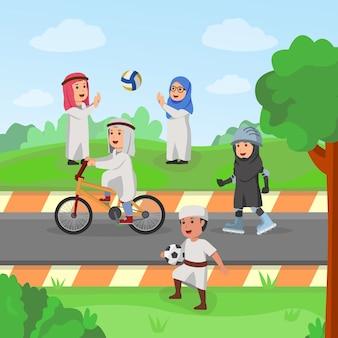 Enfants d'arabie jouant ensemble dans l'illustration vectorielle de garden carton
