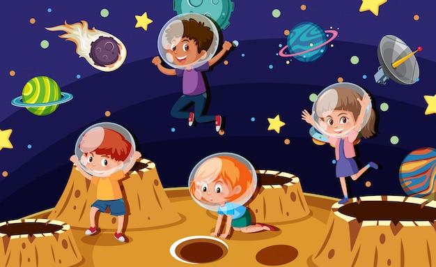 Enfants astronautes sur une planète