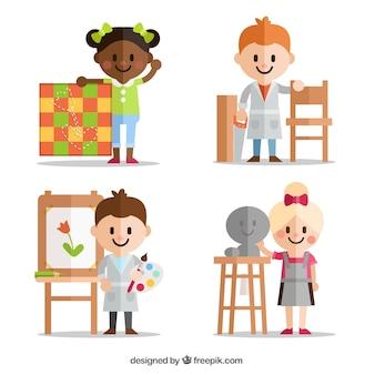 Les enfants atteints de différentes disciplines artistiques en design plat
