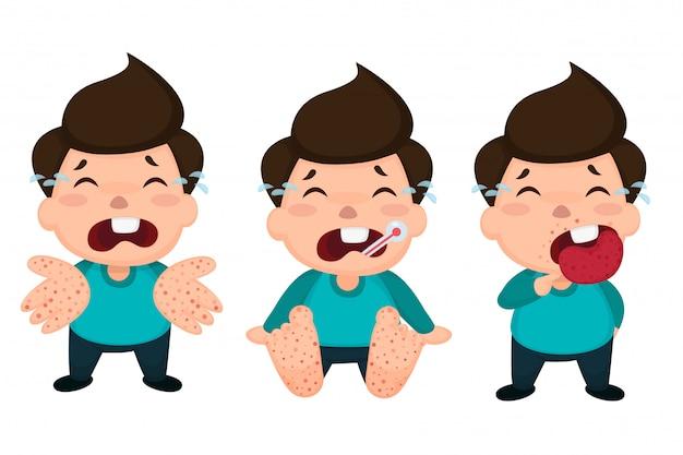 Enfants atteints de fièvre aphteuse infectés.