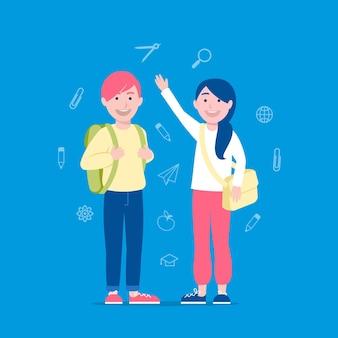 Enfants au concept de l'école