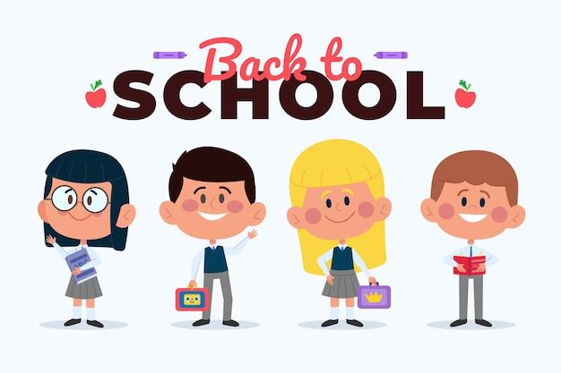 Enfants au design plat de l'école