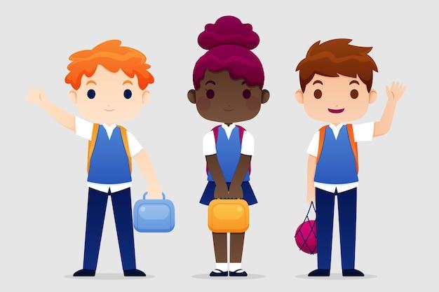 Enfants au design plat de retour à l'école