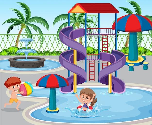 Les enfants au parc aquatique