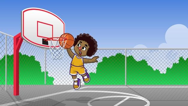 Enfants aux cheveux bouclés jouant au basket sur le terrain de basket