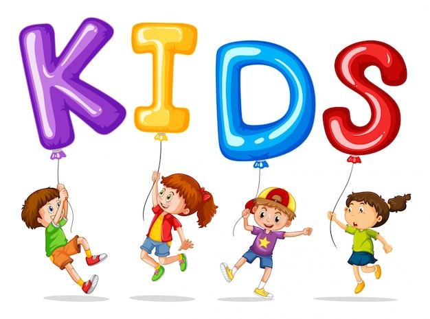 Les enfants avec des ballons colorés pour les enfants de mots