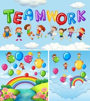 Enfants et ballons pour le travail d'équipe de mots