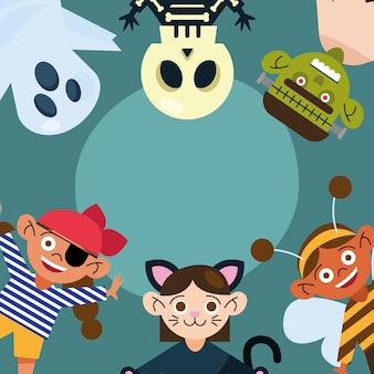 Enfants avec bannière en tissu halloween