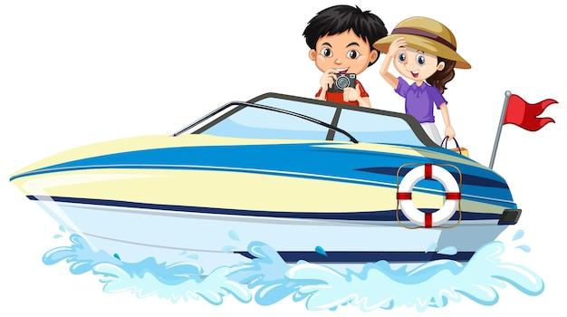 Enfants sur un bateau à moteur sur fond blanc