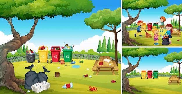 Des enfants bénévoles aident à nettoyer le parc