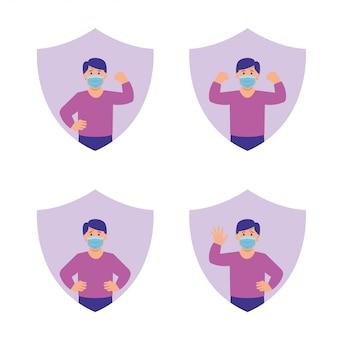 Des enfants en bonne santé protégés contre le virus avec un symbole de bouclier