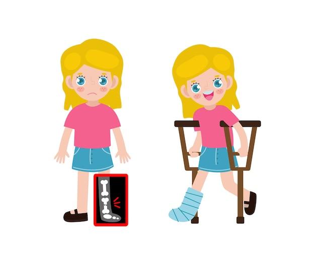 Enfants caucasiens de dessin animé mignon avec une jambe cassée à la radiographie et en convalescence avec plâtre et béquilles traitement des fractures osseuses
