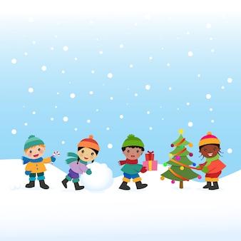 Les enfants célèbrent les vacances d'hiver