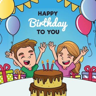 Enfants, célébrer, anniversaire, à, gâteau, et, ballons