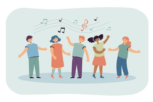 Enfants chantant des chansons