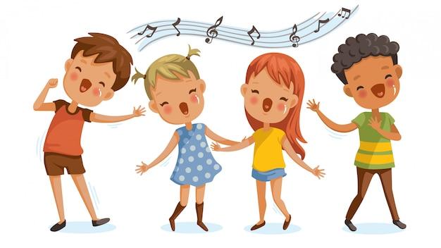 Enfants chantant. garçons et filles chantant ensemble joyeusement