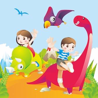 Enfants chevauchant l'illustration d'un dinosaure