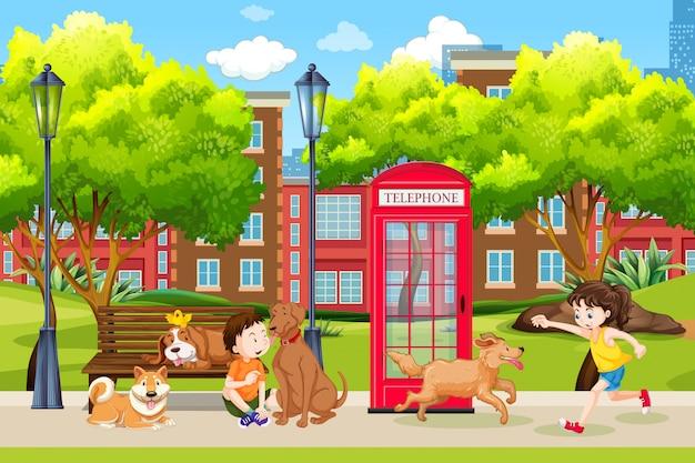 Enfants et chien au parc