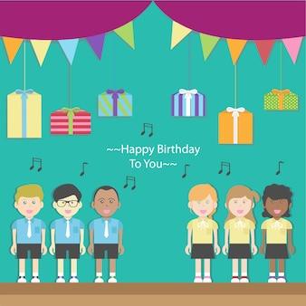 Enfants chorales chantant joyeux anniversaire