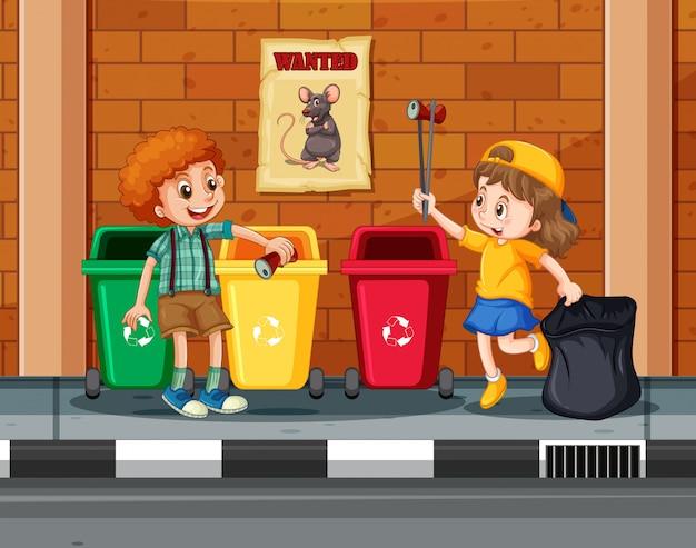 Enfants collectionnant et nettoyant la ville