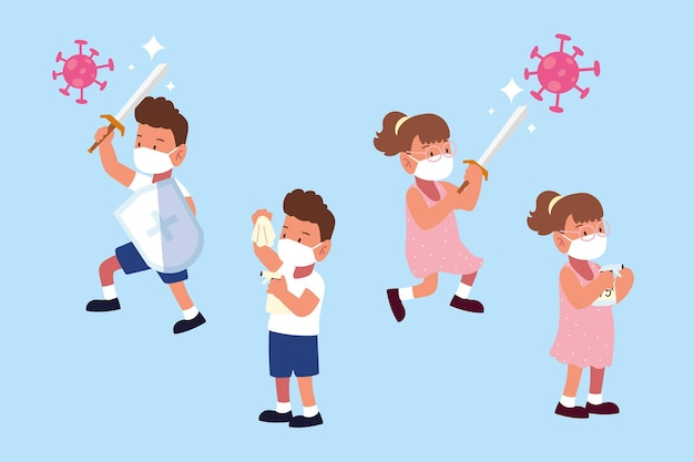 Enfants combattant covid