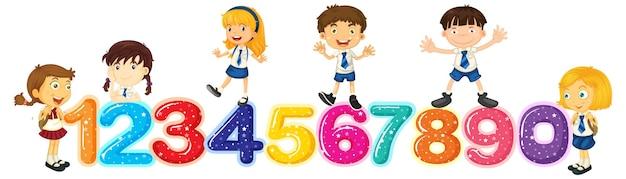Enfants comptant les nombres un à zéro