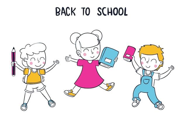 Enfants de conception dessinés à la main à l'école
