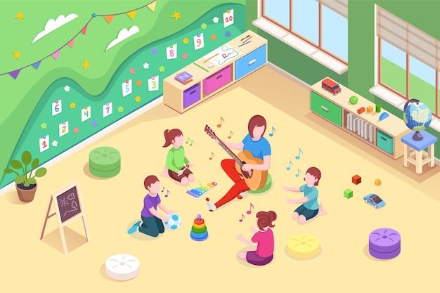 Enfants de conception vectorielle isométrique de la maternelle et enseignant apprenant à chanter une enseignante de la maternelle