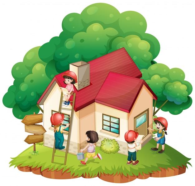 Enfants construisant une petite maison