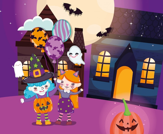 Enfants avec costume d'halloween
