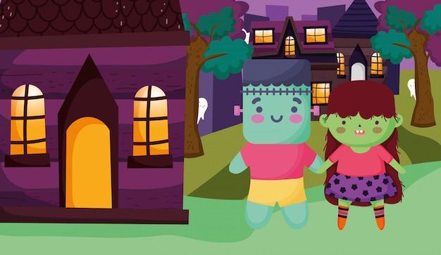 Enfants avec costume halloween