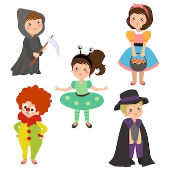 Enfants en costume de halloween